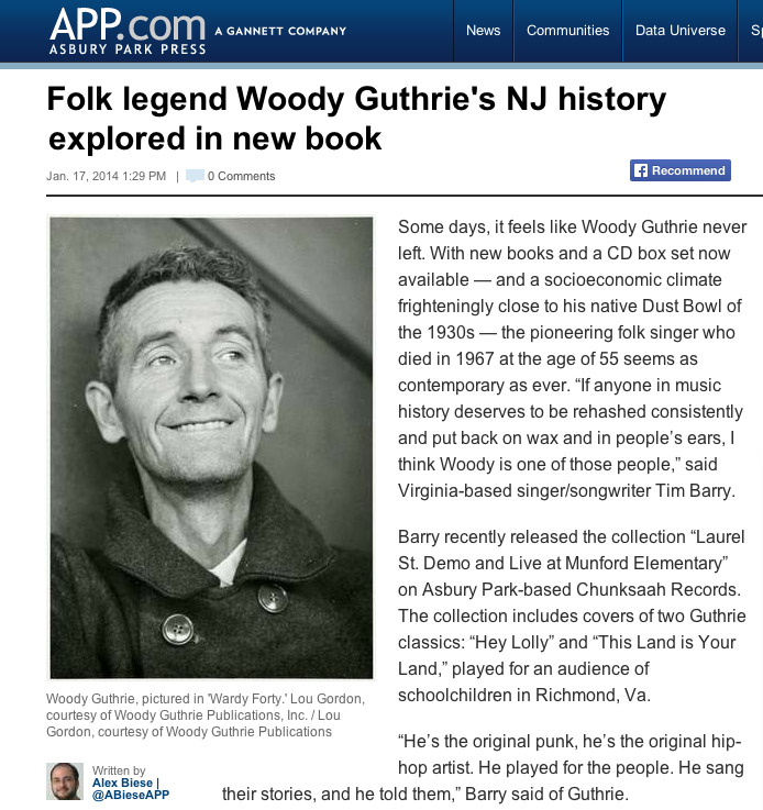 Asbury Park Press, January 17, 2013