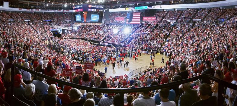 Trump rally in Cincinnati, segment of full panoramic image