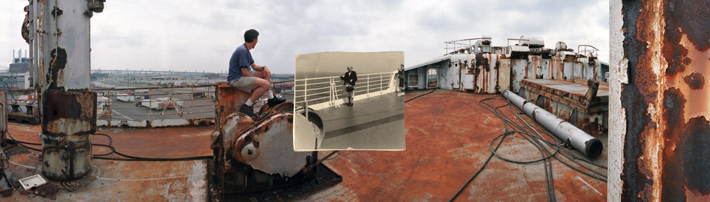 Phil with his grandmother on the deck of the SS United States, 1952/2002